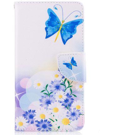 Nokia 5 Portemonnee Flip Hoesje Print Blue Butterfly