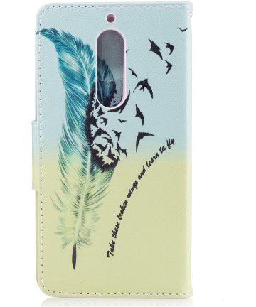 Nokia 5 Portemonnee Flip Hoesje Print Feather Hoesjes