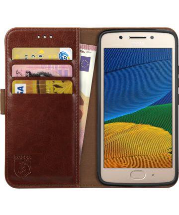 Rosso Element Motorola Moto G5 Plus Hoesje Book Cover Bruin Hoesjes