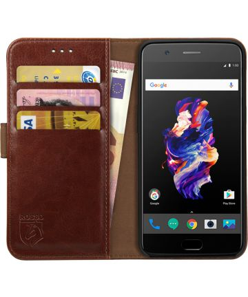 Rosso Element OnePlus 5 Hoesje Book Cover Bruin Hoesjes