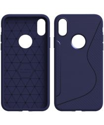 Apple iPhone X Carbon TPU Hoesje Blauw