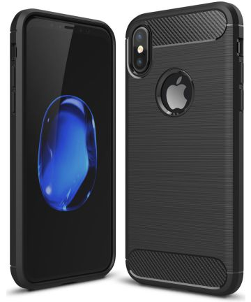 Apple iPhone X / XS Geborsteld TPU Hoesje Zwart Hoesjes