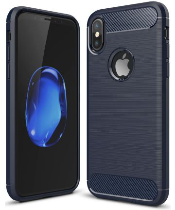 Apple iPhone X / XS Geborsteld TPU Hoesje Blauw
