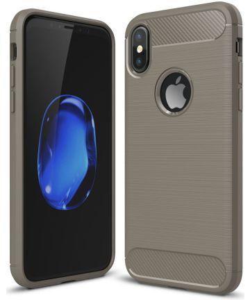 Apple iPhone X / XS Geborsteld TPU Hoesje Grijs