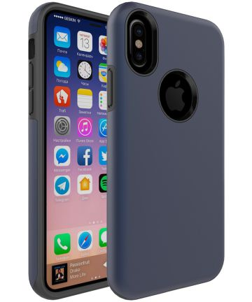 Apple iPhone X Rubber Hard Case Blauw Hoesjes
