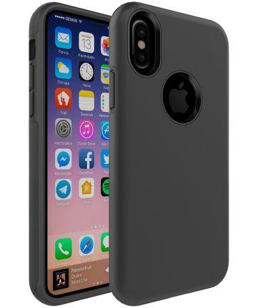 Apple iPhone X Rubber Hard Case Zwart Hoesjes