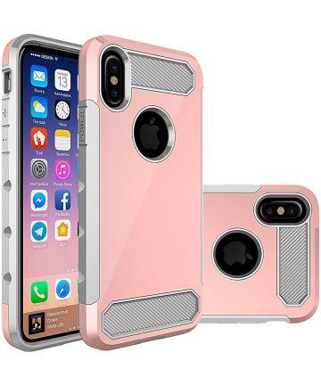Apple iPhone X Armour Case Roze Goud Hoesjes