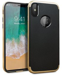Apple iPhone X Carbon TPU Case Goud Zwart