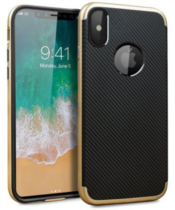Apple iPhone X Carbon TPU Case Goud Zwart Hoesjes