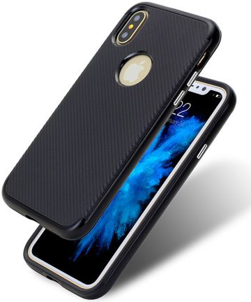 Apple iPhone X Carbon TPU Case Zwart