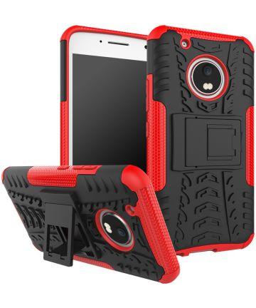 Motorola Moto G5 Plus Robuust Hybride Hoesje Rood Hoesjes
