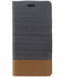 Motorola Moto G5 Plus Linnen Textuur Flip Hoesje Donkergrijs