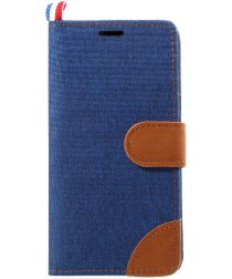 Huawei P10 Lite Jeans Portemonnee hoesje Donker Blauw