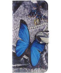 Huawei P10 Lite Portemonnee Hoesje Blue Butterfly