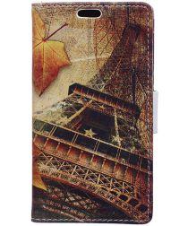 Motorola Moto E4 Plus Portemonnee Flip Hoesje Print Eiffeltoren Herfst
