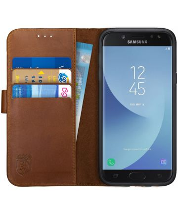 Rosso Deluxe Samsung J5 2017 Hoesje Echt Leer Pasjes Book Case Bruin