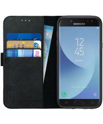 Rosso Deluxe Samsung J5 2017 Hoesje Echt Leer Pasjes Book Case Zwart