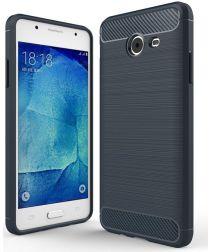 Samsung Galaxy J5 (2017) Geborsteld TPU Hoesje blauw