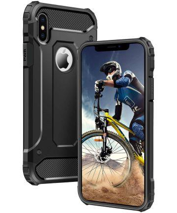 Apple IPhone X/XS Hoesje Shock Proof Hybride Backcover Zwart Hoesjes