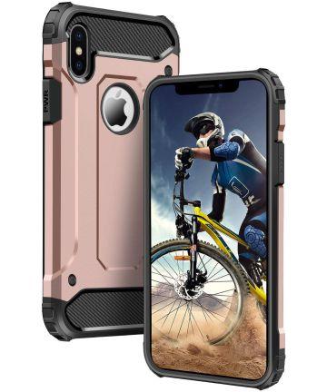 Apple iPhone X Schokbestendig Hybride Hoesje Roze Goud
