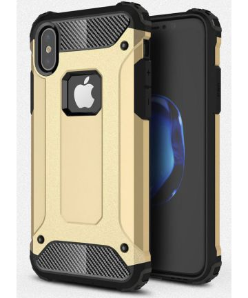 Apple iPhone X Schokbestendig Hybride Hoesje Goud