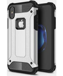 Apple IPhone X/XS Hoesje Shock Proof Hybride Backcover Zilver