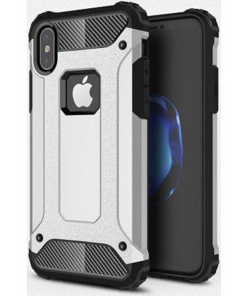 Apple IPhone X/XS Hoesje Shock Proof Hybride Backcover Zilver