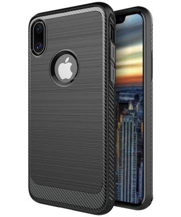 Apple iPhone X Robuust Geborsteld TPU Hoesje Zwart Hoesjes