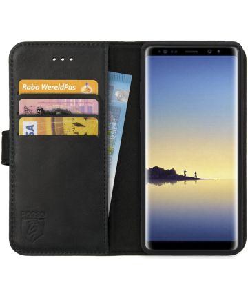 Rosso Deluxe Samsung Galaxy Note 8 Hoesje Echt Leer Book Case Zwart