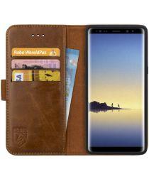 Rosso Deluxe Samsung Galaxy Note 8 Hoesje Echt Leer Book Case Bruin