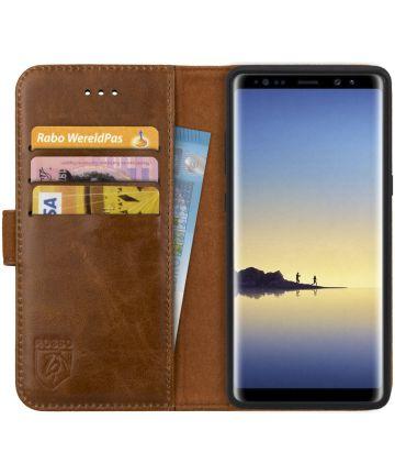 Rosso Deluxe Samsung Galaxy Note 8 Hoesje Echt Leer Book Case Bruin Hoesjes