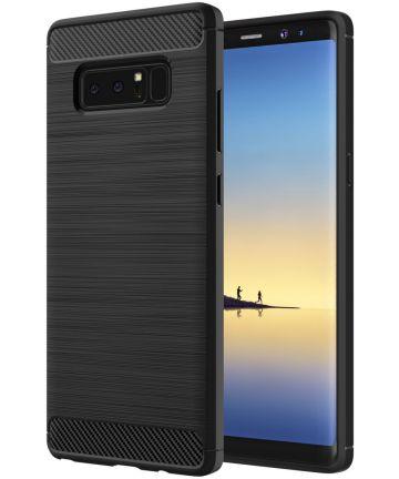Samsung Galaxy Note 8 Geborsteld TPU Hoesje Zwart
