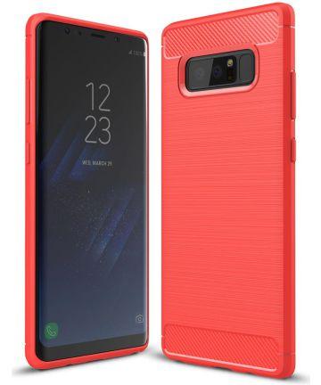 Samsung Galaxy Note 8 Geborsteld TPU Hoesje Rood Hoesjes