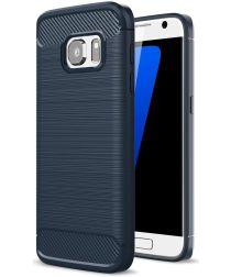 Samsung Galaxy S7 Geborsteld Hoesje Blauw