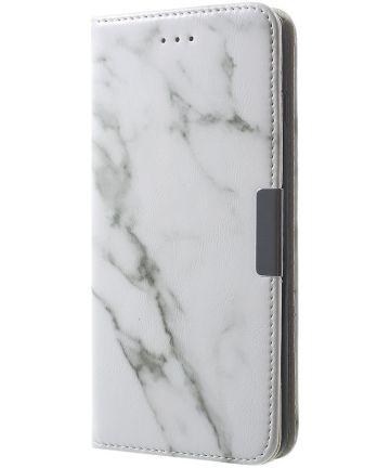Apple iPhone 6S Marmer Portemonnee Hoesje Wit Hoesjes