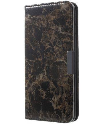 Apple iPhone 6S Marmer Portemonnee Hoesje Zwart