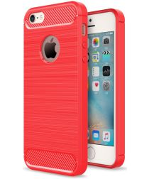 Apple iPhone 5(S)/SE Geborsteld TPU Hoesje Rood