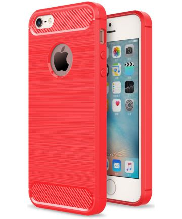 Apple iPhone 5(S)/SE Geborsteld TPU Hoesje Rood Hoesjes