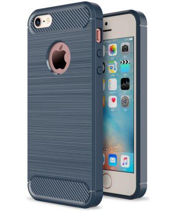Apple iPhone 5(S)/SE Geborsteld TPU Hoesje Blauw
