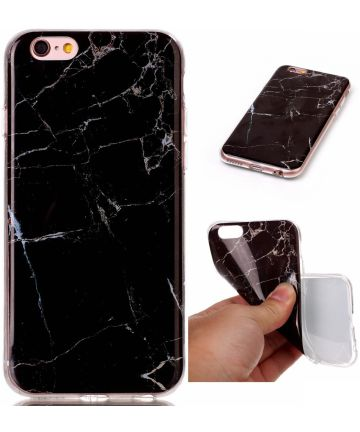 Apple iPhone 6 / 6S TPU Hoesje Marmer Zwart