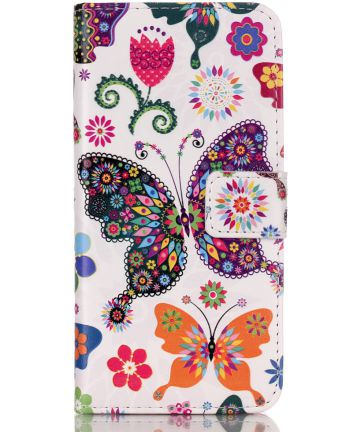 Apple iPhone 5 / 5S / SE Portemonnee Hoesje met Vlinder Print