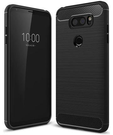 LG V30 / V30S Geborsteld TPU Hoesje Zwart Hoesjes