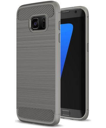 Samsung Galaxy S7 Edge Geborsteld TPU Hoesje Grijs