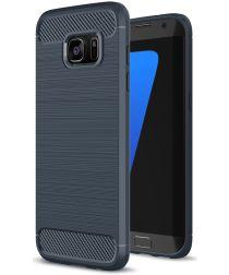 Samsung Galaxy S7 Edge Geborsteld TPU Hoesje Blauw