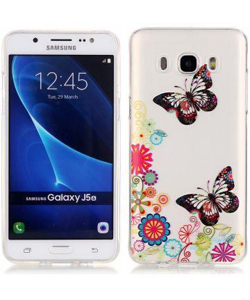 Samsung Galaxy J5 (2016) TPU Hoesje Vlinder met Bloemen Hoesjes
