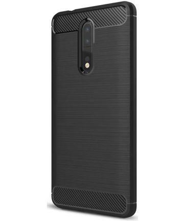 Nokia 8 Geborsteld TPU Hoesje Zwart