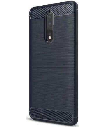 Nokia 8 Geborsteld TPU Hoesje Blauw