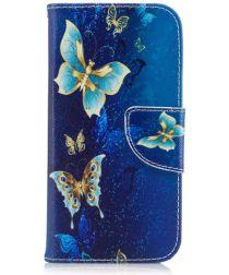 Samsung Galaxy A3 (2017) Portemonnee Hoesje met Vlinders Print Blauw
