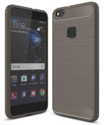 Huawei P10 Lite Geborsteld TPU Hoesje Grijs
