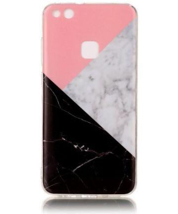 Huawei P10 Lite TPU Hoesje met Marmer Opdruk Roze Hoesjes